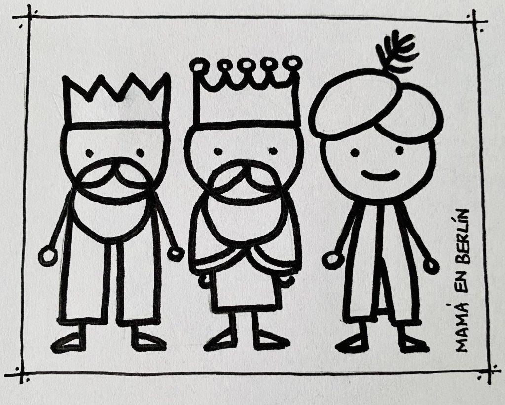 Reyes magos Melchor Gaspar y Baltasar muñecos de palo navidad 6 de enero